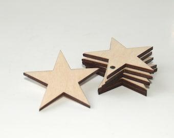 5 Wood stars shape, Stars ornament, Star, Wedding favors, Stars shape, Wooden stars shape, Wood tags, Star tags, Wooden shapesm Star shape