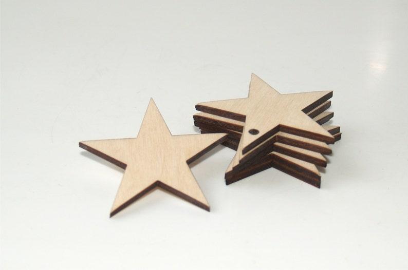 5 Wood stars shape Stars ornament Star Wedding favors image 0