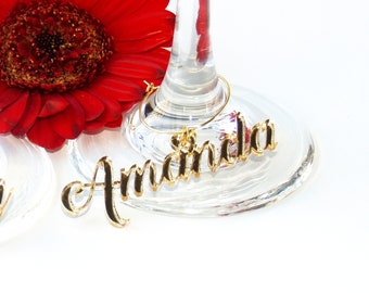 Wine glass charms personalized, Wedding place cards, Wedding name tags, Wedding name place, Place setting wedding, Custom wine glass charms