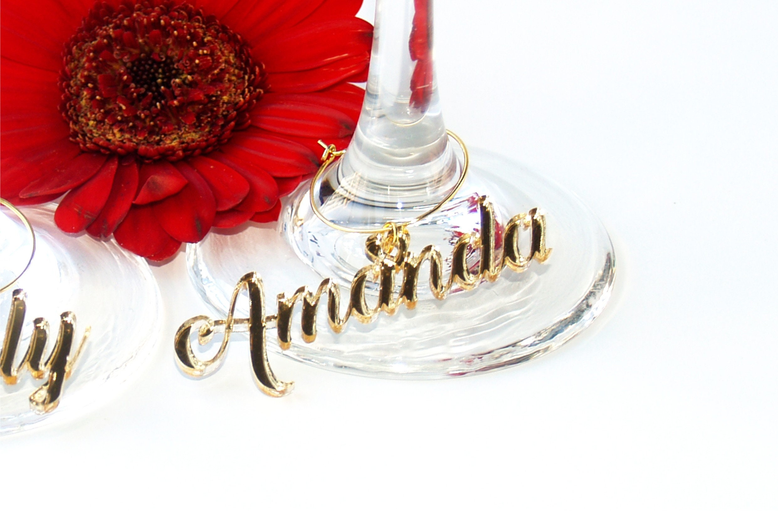 Wine glass charms personalized, Wedding place cards, Wedding name ...