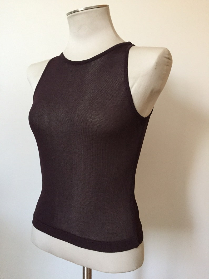 Womens CoSTUME NATIONAL Burgundy Sleeveless Open Knit Top Size XS,S