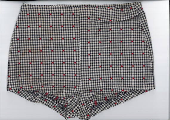 1930s Glen Check Pattern Short Shorts - Size XS/S
