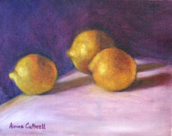 You Left the Lemons on the Table Original Still Life Oil Painting of Lemons by North Carolina Artist, Aimee Cuthrell