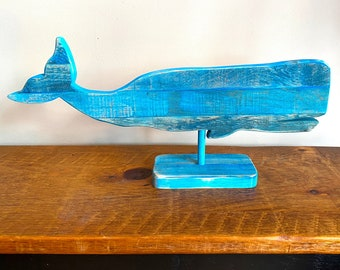 Vintage Tin Whale on Block Nautical Primitive Blue Whale Cut Out Balsam Wood Stand Rustic Beach Decor