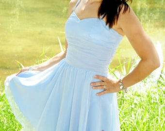 Dress, party dress, light blue, Brautjungferkleid, chiffon dress, size 36