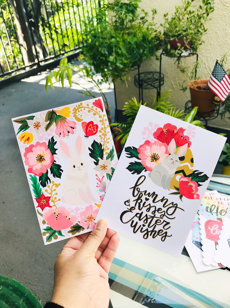 Set of Two Easter Postcards 5 x 7