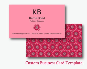 Cool business cards etsy business card template calling cards custom business cards unique business card template business card design pink business card colourmoves