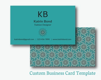 Cool business cards etsy business card template calling cards custom business cards unique business card template business card design turquoise business card colourmoves