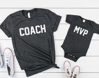3f1c49592 Fathers day gift set- father son tshirts- matching fathers day shirts- matching  dad shirts- father son shirts- coach MVP shirt sets- fa