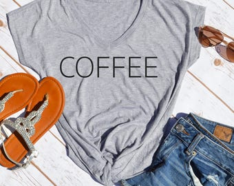 Coffee T-shirt- coffee lover shirt- gifts for mom- caffeinated- caffeine- but first coffee-