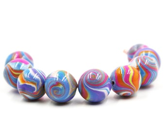 focal beads 6 focal beads Swirl lentil beads craft supplies beads green and red polymer clay beads for jewelry making DIY jewelry gift
