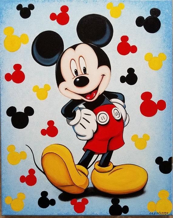 Items similar to Original Mickey Mouse Acrylic Painting 16 ...