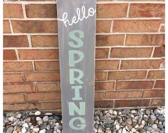 Hello Spring Sign, Spring Home Decor, Spring Welcome Sign, Spring Door Sign, Spring Porch Decor