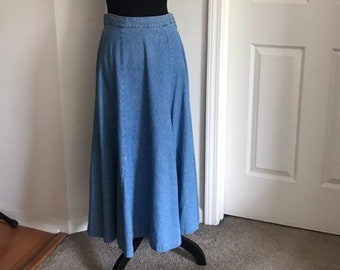 e51f9556042 Vintage Petite Sophisticate Blue Denim Boho Hippie Bohemian Jean High Waist  Cotton Long A-Line Flare Flared Skirt
