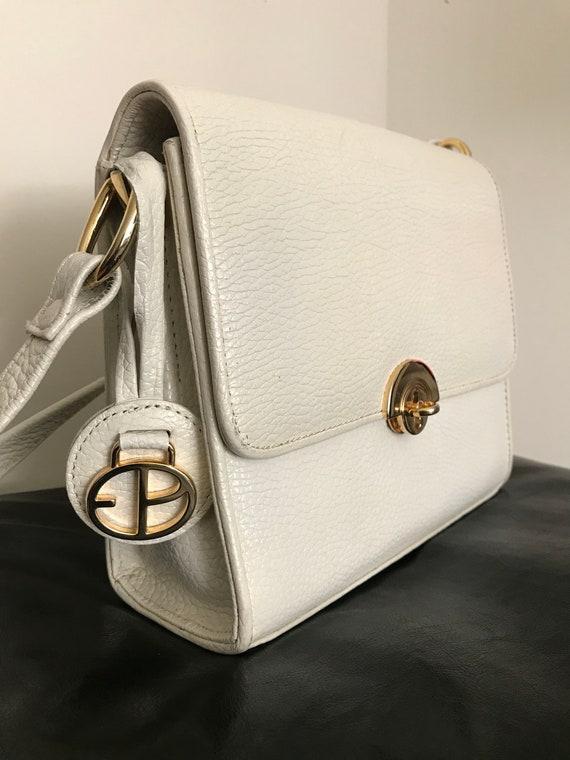 Vintage Evan Picone White Gold Faux Leather Adjust
