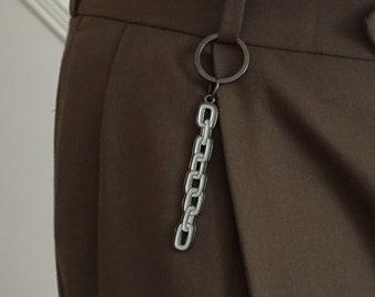 Chain Keychain – Double Sided Grey Enamel Accessory