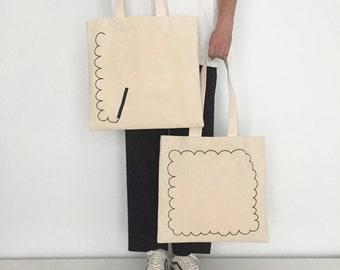Dream Drawing Tote Bag –Natural Canvas and Black Screen Printed Bag