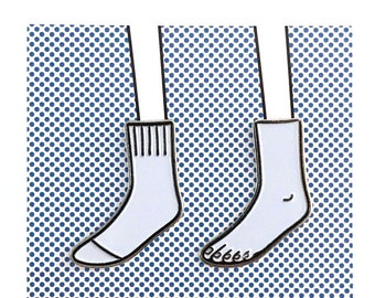 Sock and Foot Pin Set – Soft white and black enamel designed artist chrome brooch