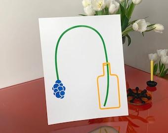Circle Flower Risograph Art Print 11x14