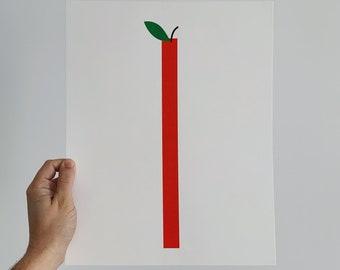 Apple Risograph Art Print 11x14