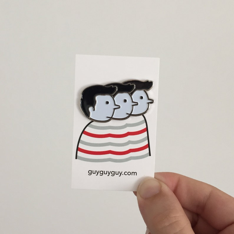 3 Faces Pin  Cute GuyGuyGuy Enamel Pin image 0