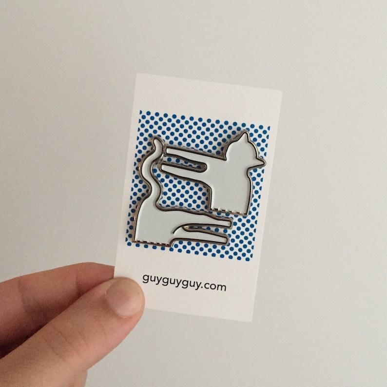 Cat Pin Set  Silver Enamel Accessory image 0