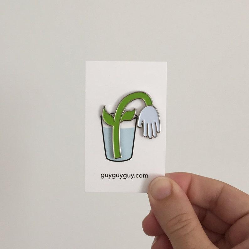 Hand Flower Pin  White Tulip Enamel Accessory image 0
