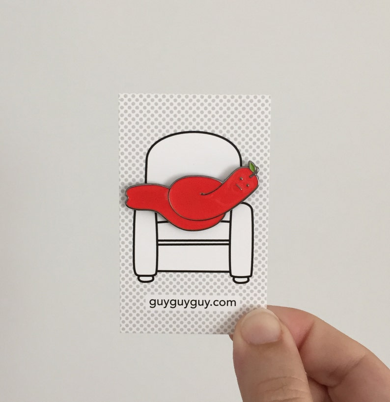 Lazy Apple Worm Pin  Red Enamel Accessory image 0