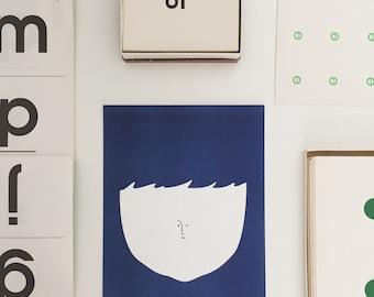"Big Head – 8""x10"" Blue Risograph Print"