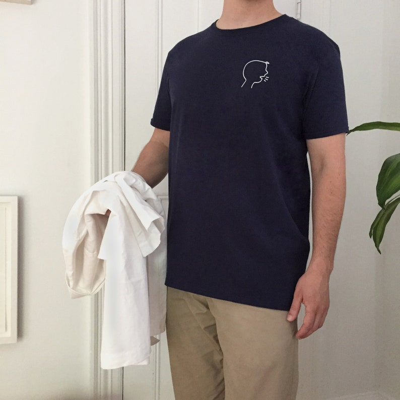 Yelling Boy T-Shirt Minimal White and Navy Blue Graphic Tee image 0