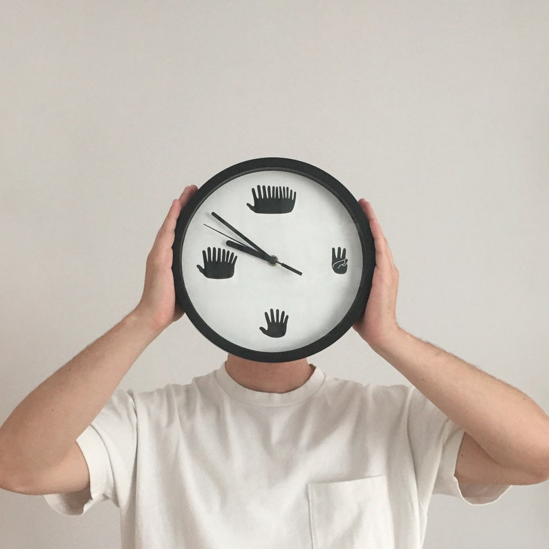 Hands Clock Funny Minimal Silent Sweep Motion Clock with image 0