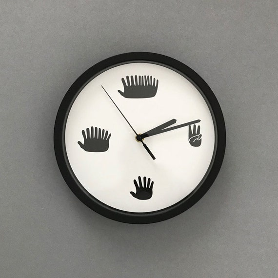 Hands Clock Funny Minimal Silent Sweep Motion Clock With Etsy