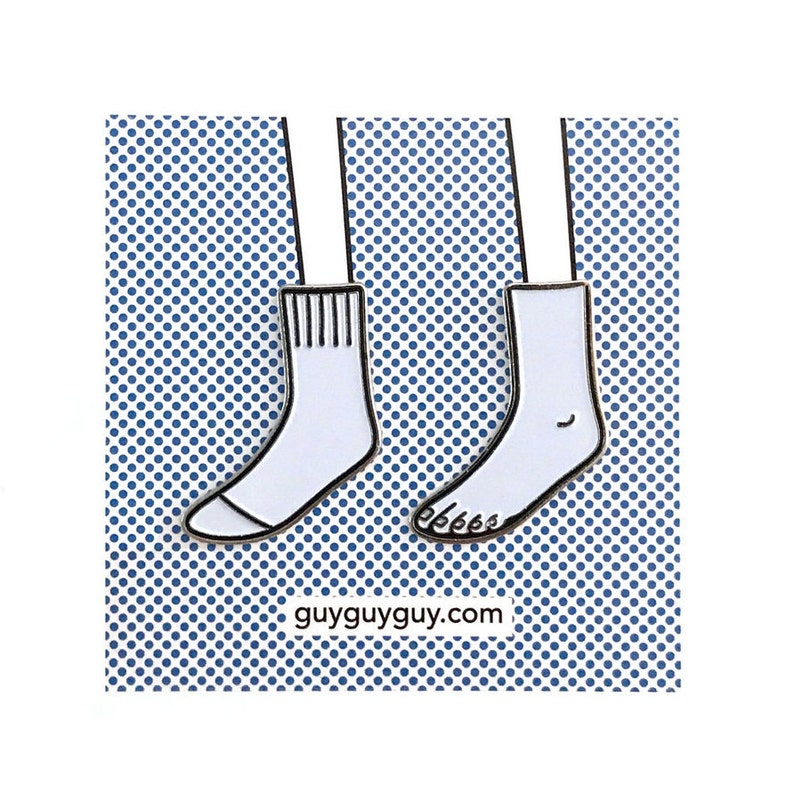 Sock and Foot Pin Set  Soft white and black enamel designed image 0