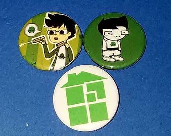 3pc Homestuck Jake English Button Set