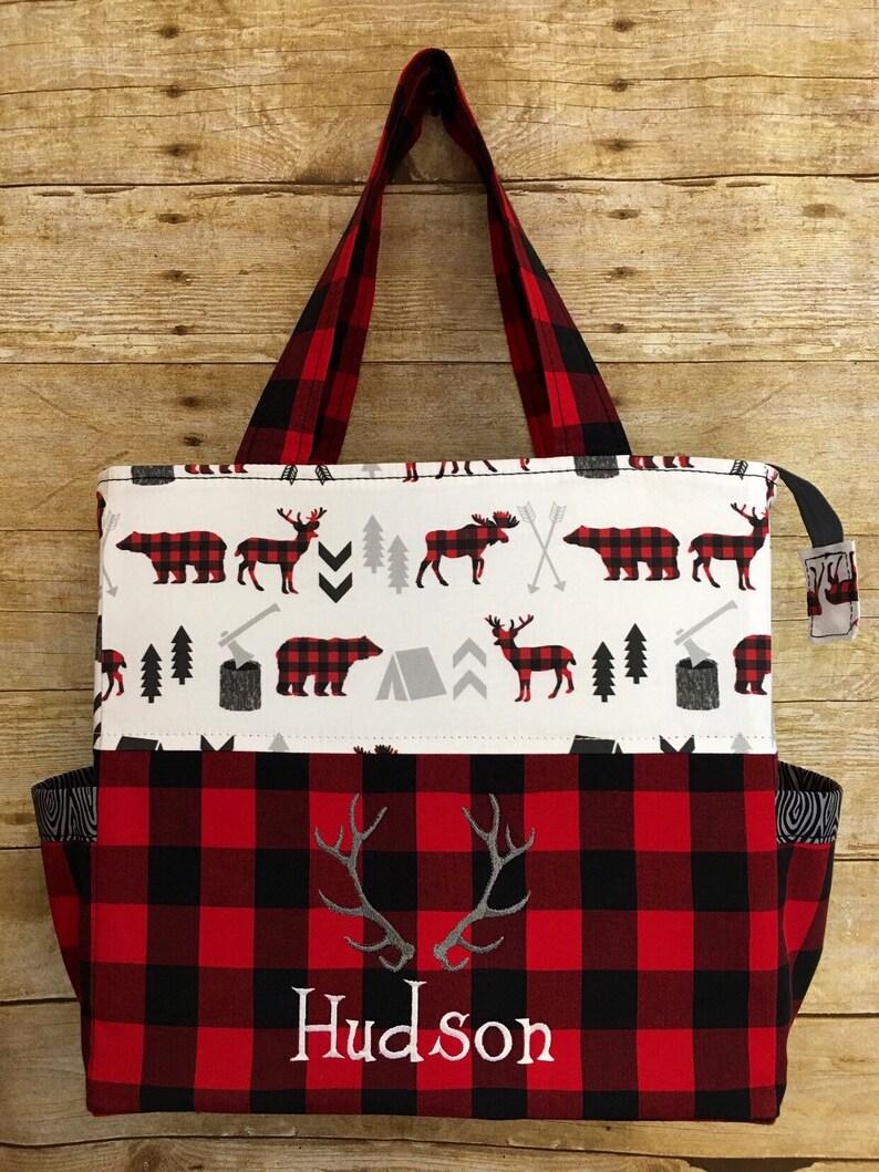 42c1cfa3d510 Buffalo Plaid Diaper Bag deer moose bear arrows Little
