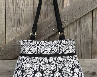 Pleated Black and White Damask Handbag