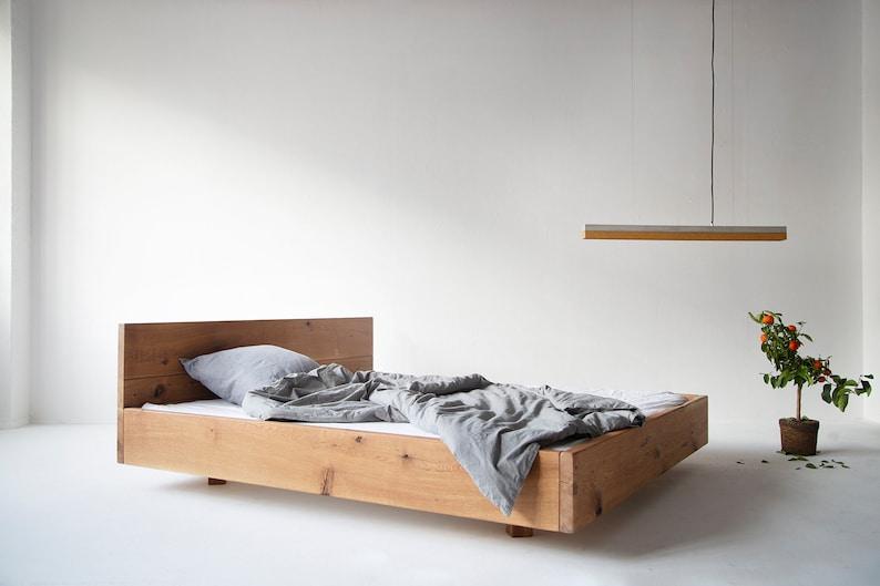 Old wood oak bed Lussan with backrest image 0