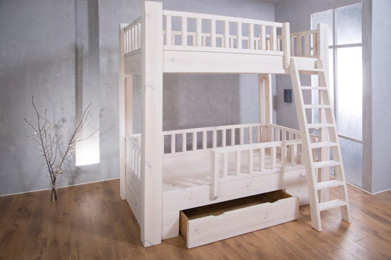 Timber Bunk Bed For Kids White Wash Etsy