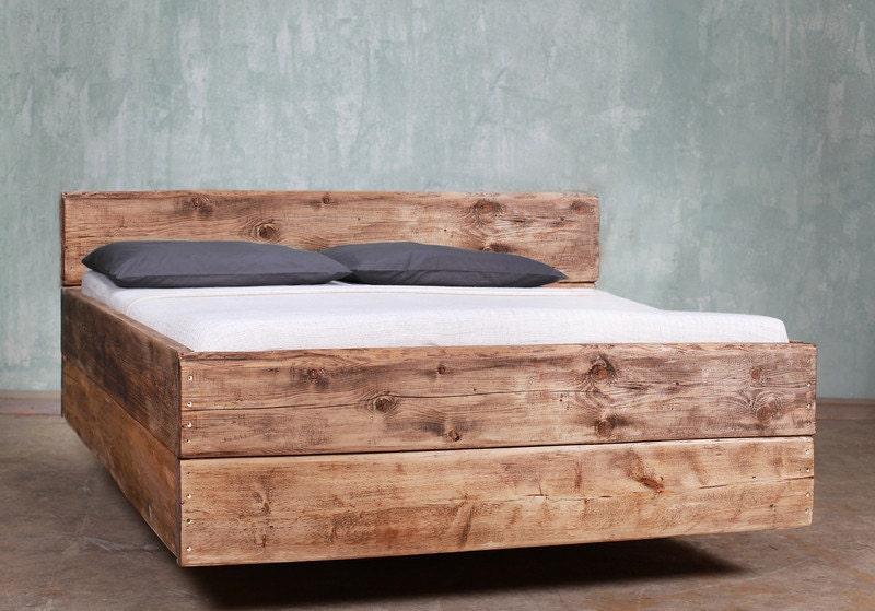 bauholz bett cucuron r ckenlehne mittelbraun etsy. Black Bedroom Furniture Sets. Home Design Ideas