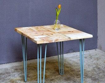 Kitchen Table Lumber & Hairpin Legs Ninon 70 x 70 cm Powder Coated Blue
