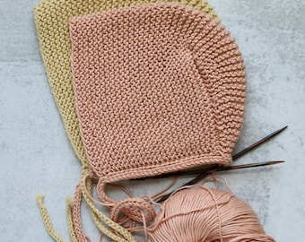 Pattern Baby Bonnet, Pima Cotton Bonnet, Knitting Patterns, Knit Hat Pattern PDF, Knit Beanie Pattern, Easy Knitting Patterns