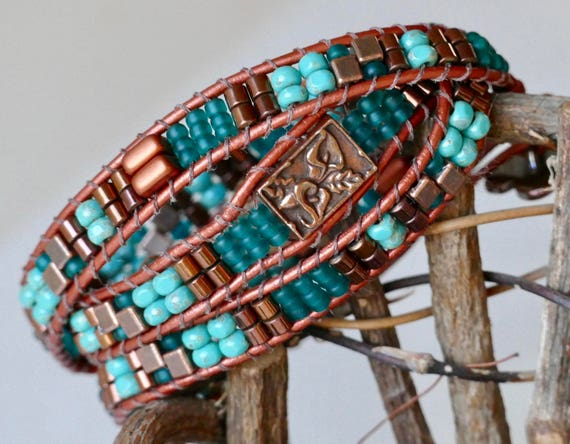 Cream Leather Wrap Cuff with Copper Studs and Turquoise Spots