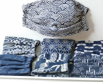 Fabric Face Masks Adults, Easy To Breathe, Reusable Washable, 2 or 3 Layer Cotton, Indigo, Ready To Ship, Japanese Fabric, Mask Cover