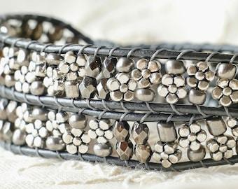 Bracelets For Women, Chunky Silver Leather Bracelet, Beaded Wrap For Her, Floral Jewelry, Boho Bracelet, Anniversary Gift, Boho Mom