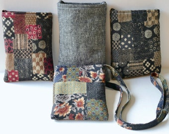 Cross Body Bag, Cell Phone Pouch, Small Purse, Patchwork Cotton Fabric, Japanese Asian, Cross Body Purse, Fabric Shoulder Bag, Cloth Day Bag