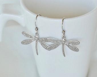 Dragonfly Earrings, Silver Earrings, Dainty Delicate, Gift For Her, Dangle Drop, Insect Earrings, Dragonfly Jewelry, Lightweight Earrings