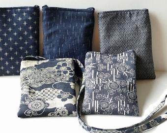 Cross Body Bag, Cell Phone Pouch, Small Purse, Indigo Cotton Fabric, Japanese Asian, Cross Body Purse, Fabric Shoulder Bag, Cloth Day Bag