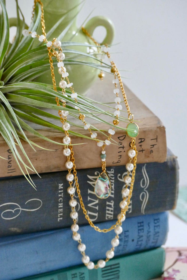 295af8dde986 Bohemian Layering Chain Long Beaded Gemstone Necklace Long