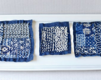 Sashiko Boro Patch, Japanese Fabric Patch, Jeans Denim Embroidery, Visible Mending, Hand Sewn, Creative Mending, Slow Stitch Visible Mending