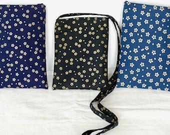 Cross Body Bag, Cell Phone Pouch, Small Purse, Indigo Black Cotton, Japanese Asian, Cross Body Purse, Fabric Shoulder Bag, Cloth Day Bag